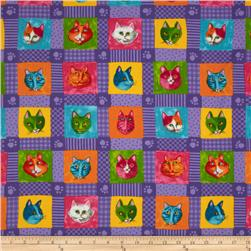 Moda Prisma Cats Kitty Quilt Purple