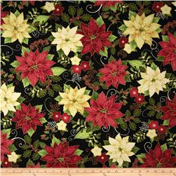 Home For The Holidays Metallic Flower Black