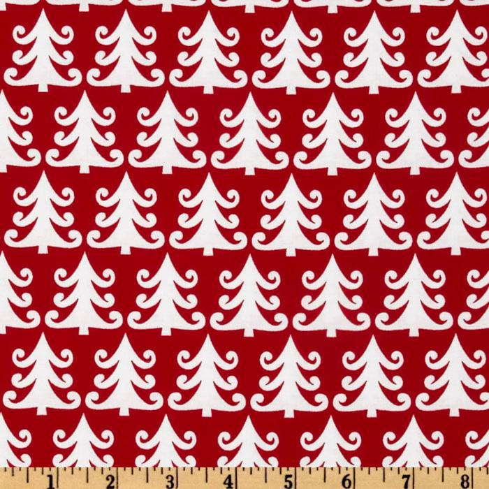 Michael Miller Nordic Holiday Tree Farm Red