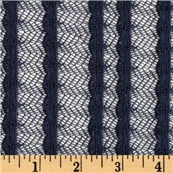 Stretch Lily Crochet Lace Navy