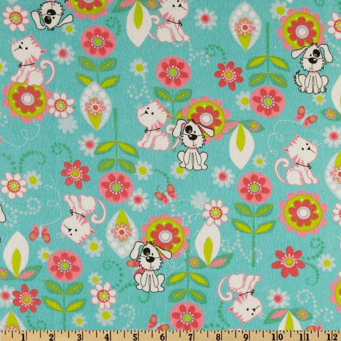 Cuddle Prints Flannel Cats & Dogs Aqua