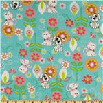 FR-950 Cuddle Prints Flannel Cats & Dogs Aqua
