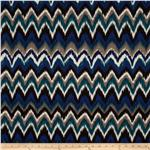 Monaco Stretch ITY Jersey Knit Chevron Blue