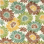UN-709 Heather Bailey Freshcut Laminated Cotton Graphic Mums Brown