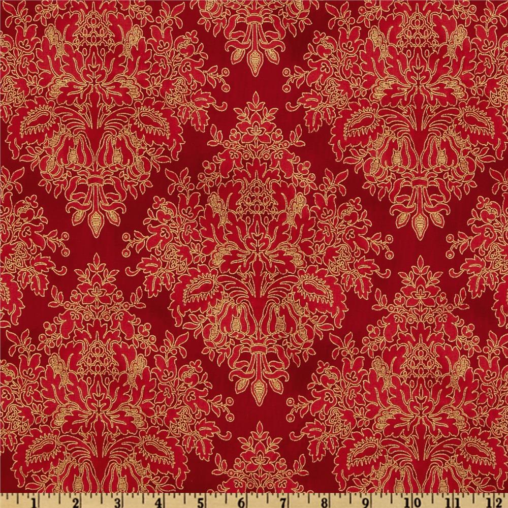 Tuscan Sunflowers Damask Metallic Garnet