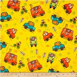 Flannel Novelties Tossed Jungle Animals In Cars Yellow