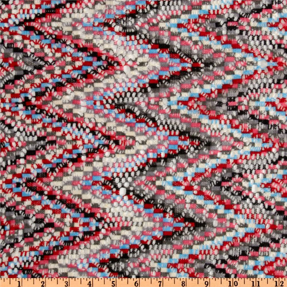 Designer Chevron Lace Red/Light Blue