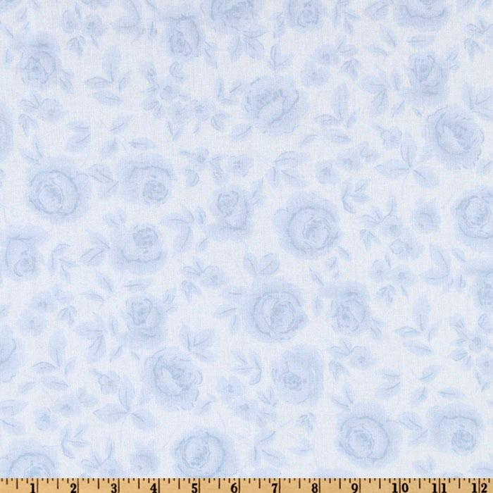108'' Flourish Quilt Backing Washed Roses Light Blue
