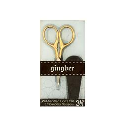 "Gingher 3 1/2"" Goldhandle Lion's Tail Embroidery Scissors"