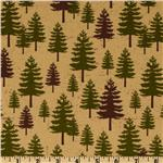 FU-999 Riley Blake Elk Ridge Pine Trees Tan