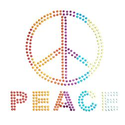 Peace Sign Rhinestud Applique Rainbow