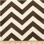 "Minky Cuddle 3/4"" Chevron Cream/Brown"
