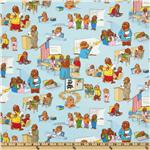 Moda Bear Country School Classroom Scenes Light Blue