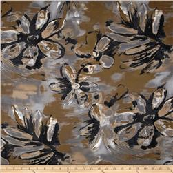 Satin Face Crepe de Chine Floral Grey/Black/Olive