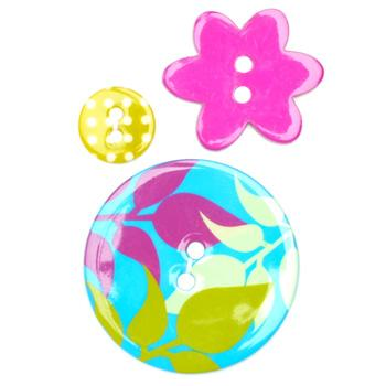 Fashion Buttons 1/2'', 1.00'', 1 3/8'' Coordinates Moonlight Leaves Blue/Hot Pink