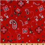 Collegiate Cotton Broadcloth University of Nebraska Bandana Red