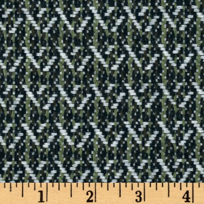 Wool Blend Coating Abstract Plaid Ivory/Green