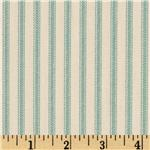 Vertical Ticking Stripe Ivory/Aqua