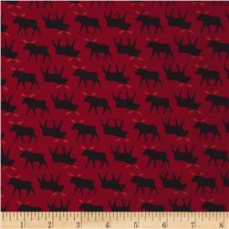 Timeless Treasures Cabin Flannel Moose Red