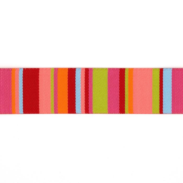 "7/8"" Kaffe Fasset Roman Stripes Ribbon Lime/Coral"