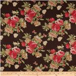 0271017 Maribel Voile Floral Brown/Pink/Gold