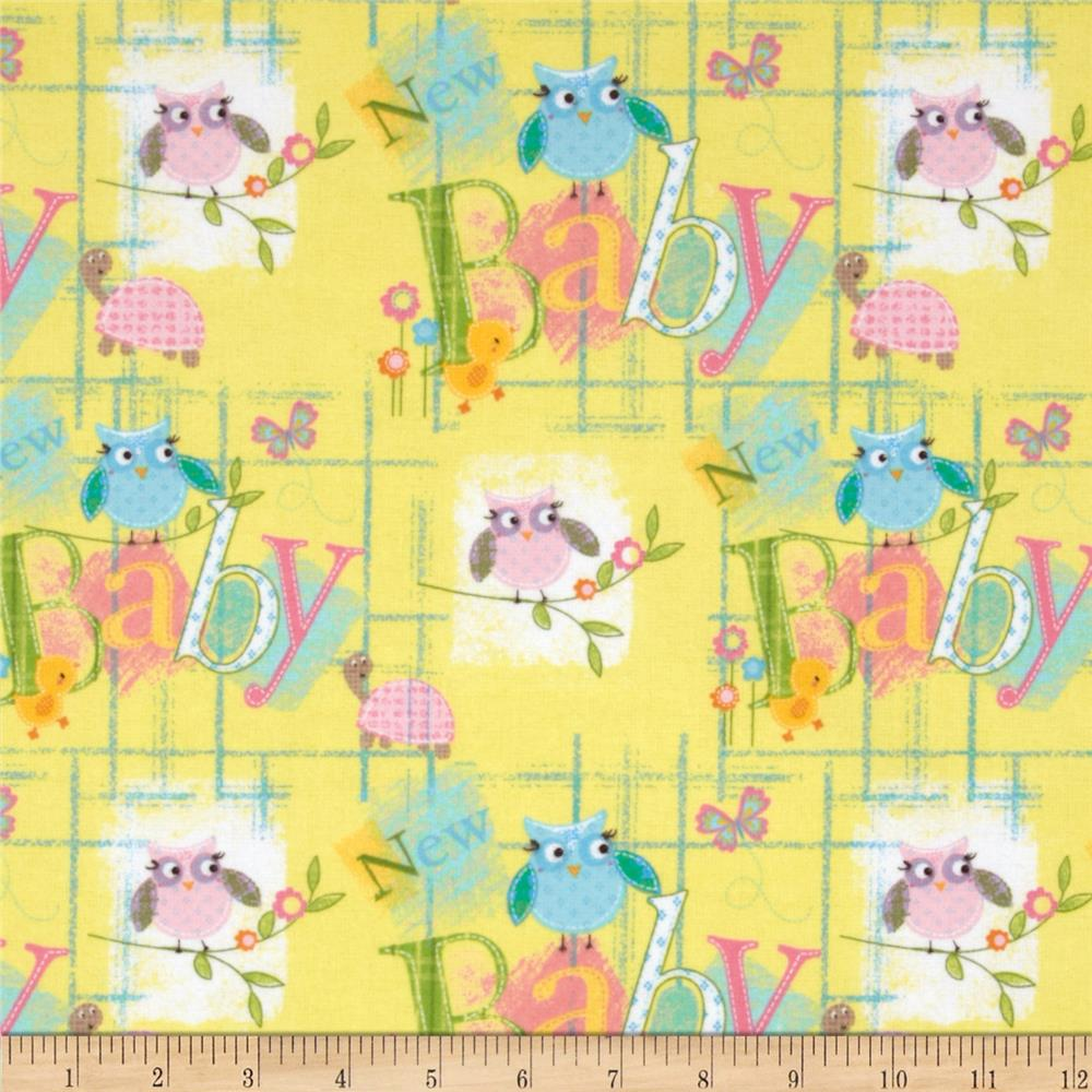 Fabri-Quilt Cuddle Flannel Baby Owls Yellow