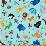 Riley Blake Zoofari Organic Tossed Animals Blue