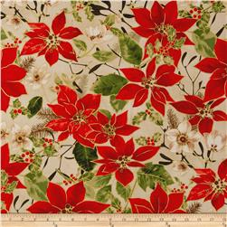 Christmas Traditions Poinsettas Cream