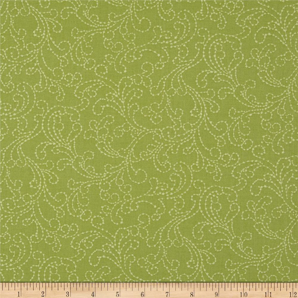Moda Sakura Park Scroll Leaf Green
