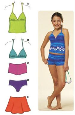 Kwik Sew Girls' Mix & Match Swimwear Pattern
