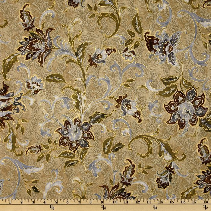 La Scala 4 Large Floral Metallic Gold/Antique