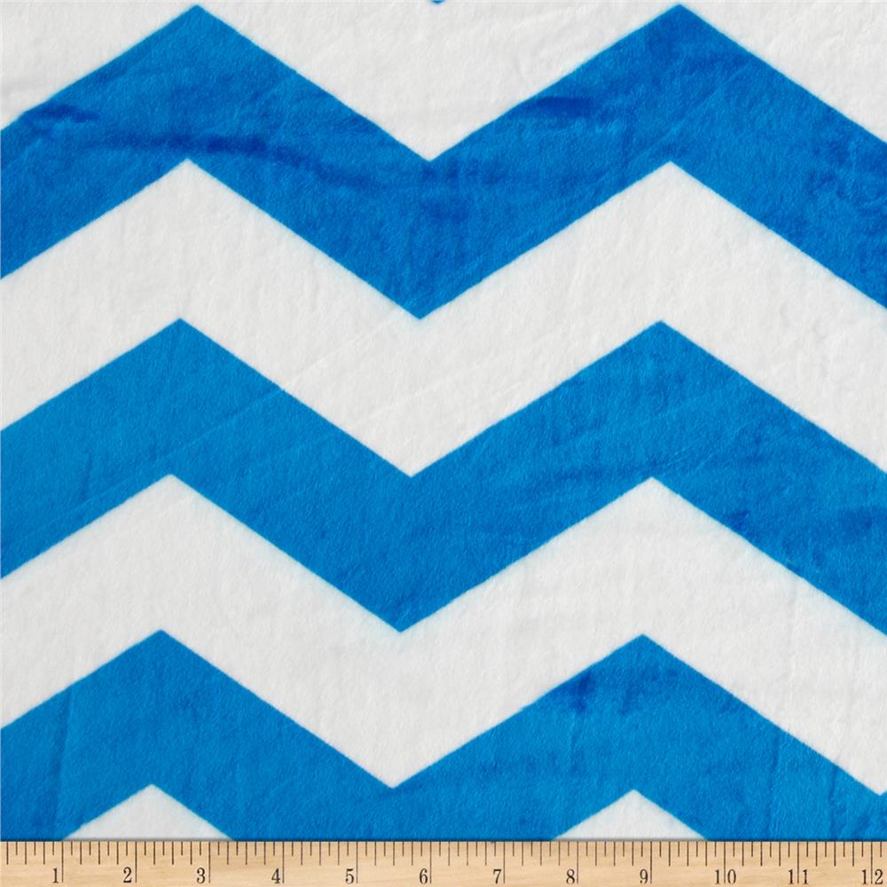 Minky Chevron Blue/White