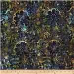 Tonga Batik Lemon Poppy Floral Ink
