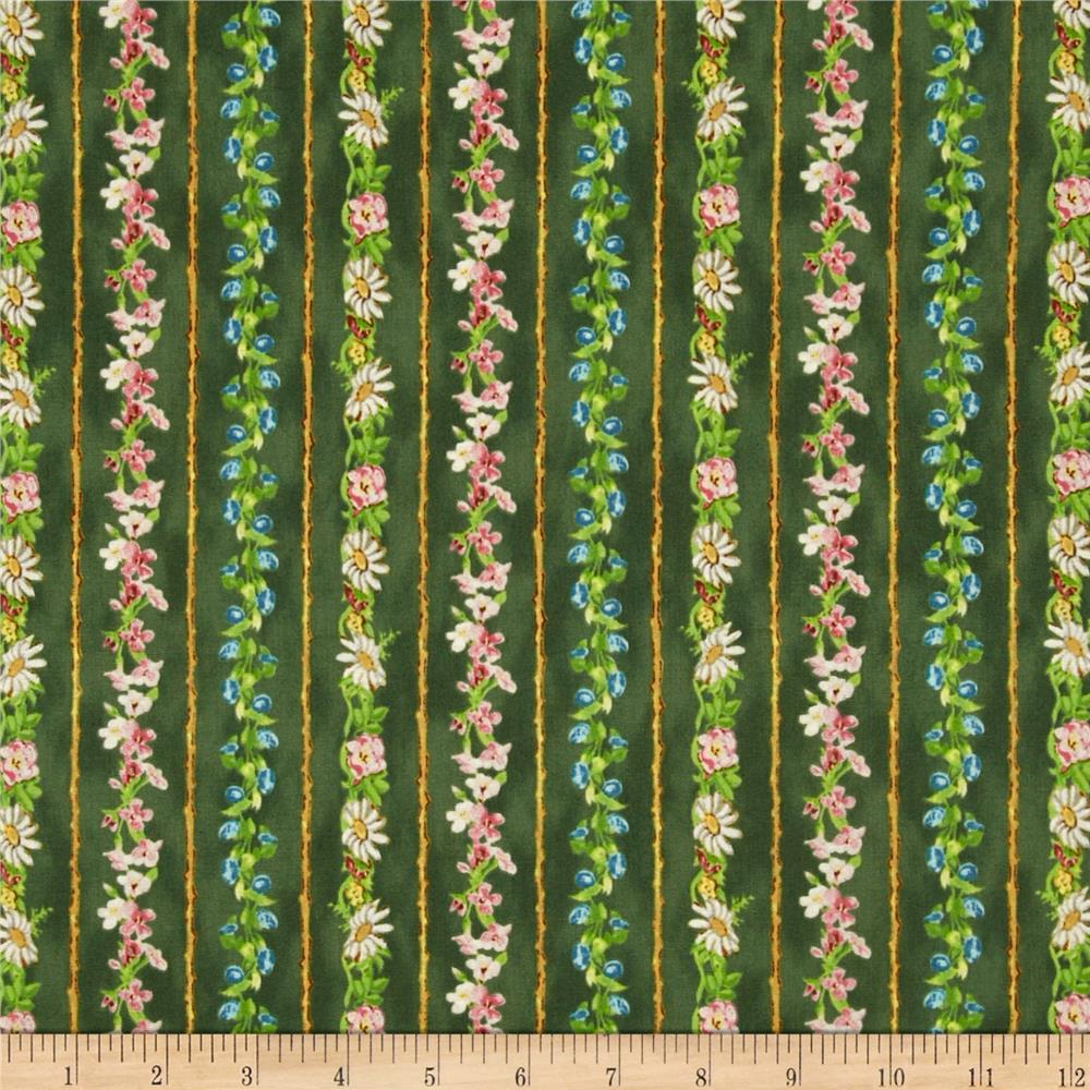 A Child's Garden of Verses Floral Stripe Green