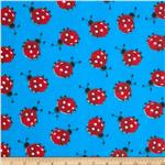 0277435 Printed Broadcloth Ladybugs Turquoise/Red