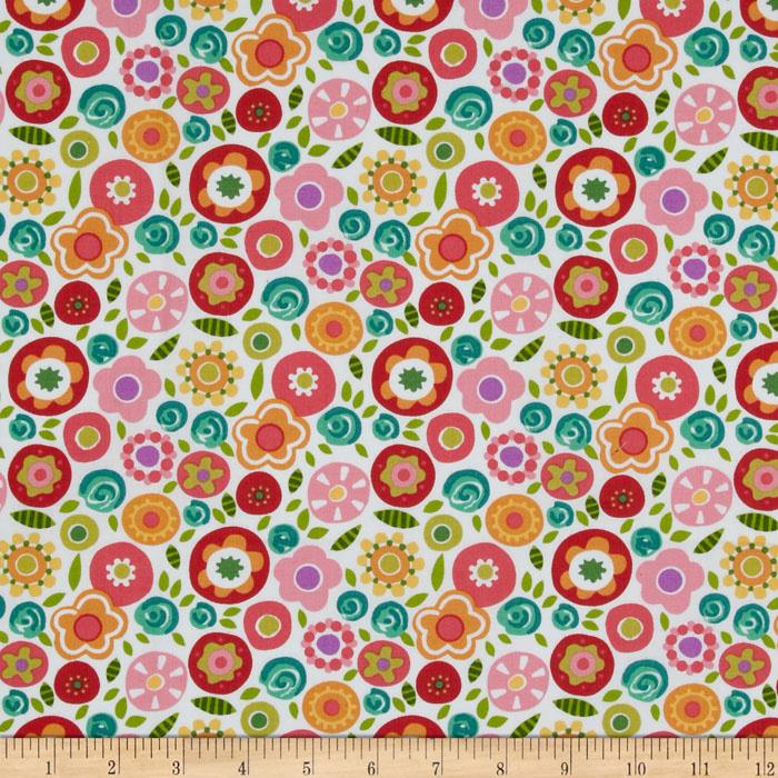 Round The Garden Allover Floral White