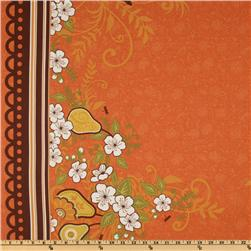Decadence Lace Floral Double Border Orange