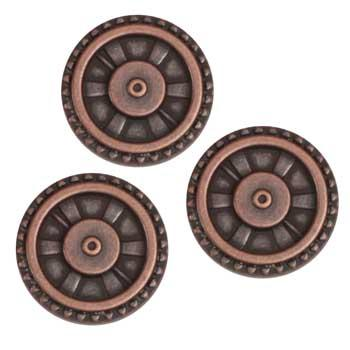 Metal Button 5/8'' Closed Wheel Copper