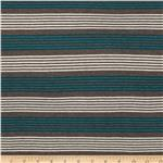 0280686 Designer Stretch Rayon Jersey Knit Stripe Teal/Grey