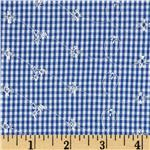0285721 Embroidered Woven Gingham Royal Blue