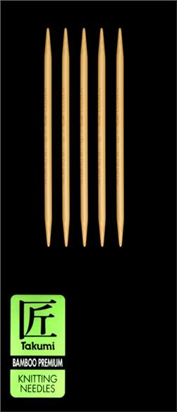 Clover Takumi Bamboo Premium Knitting Needles Double Pt. 5'' US 6 (4mm)