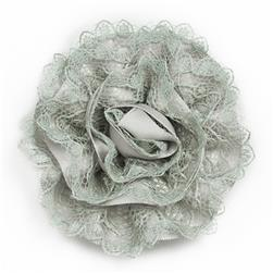 "3"" Rolled Lacy Flower Pin And Hairclip Grey"