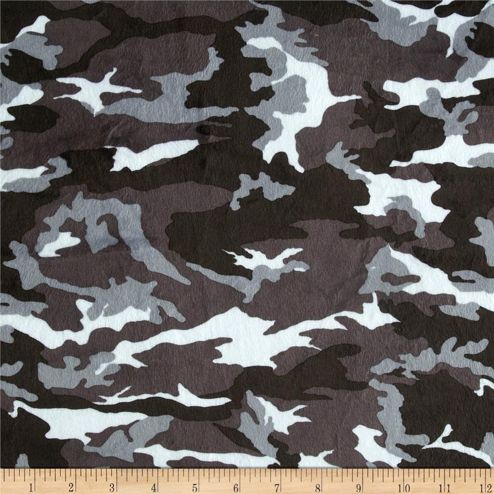 Minky Cuddle Camoflage Black