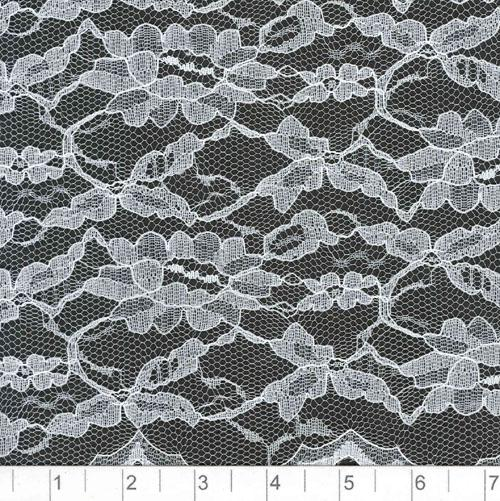 Scalloped Lace Fabric White