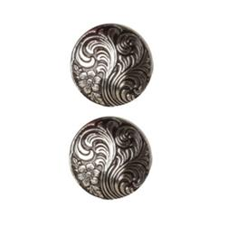 Metal Button 5/8'' Damascene Antique Silver