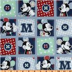 FD-229 Mickey Mouse Plaid Dots Patch Blue