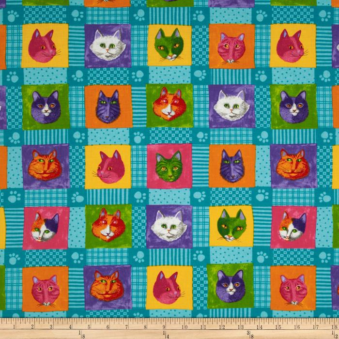 Moda Prisma Cats Kitty Quilt Turquoise