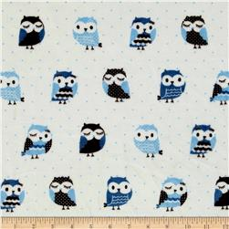 Minky Owls Blue/Brown