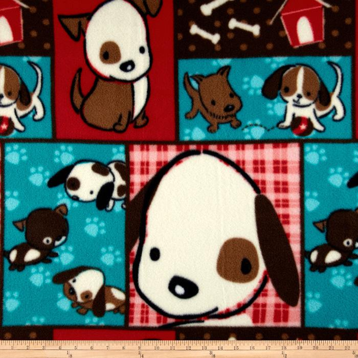 Naughty Puppies Fleece Pup Patchwork Red