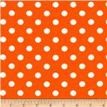 0296984 Stretch ITY Jersey Knit Small Dots Bright Orange/White